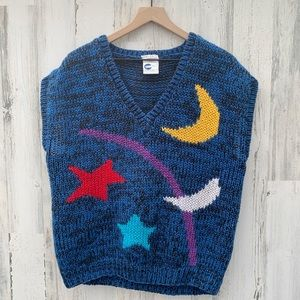 Vintage 90s Chunky Hand Knit Celestial Sweater Top